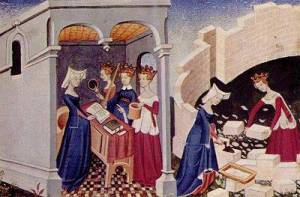 Illustration from a French edition (c. 1411-12) of  Christine de Pizan's The Book of the City of Ladies,1405
