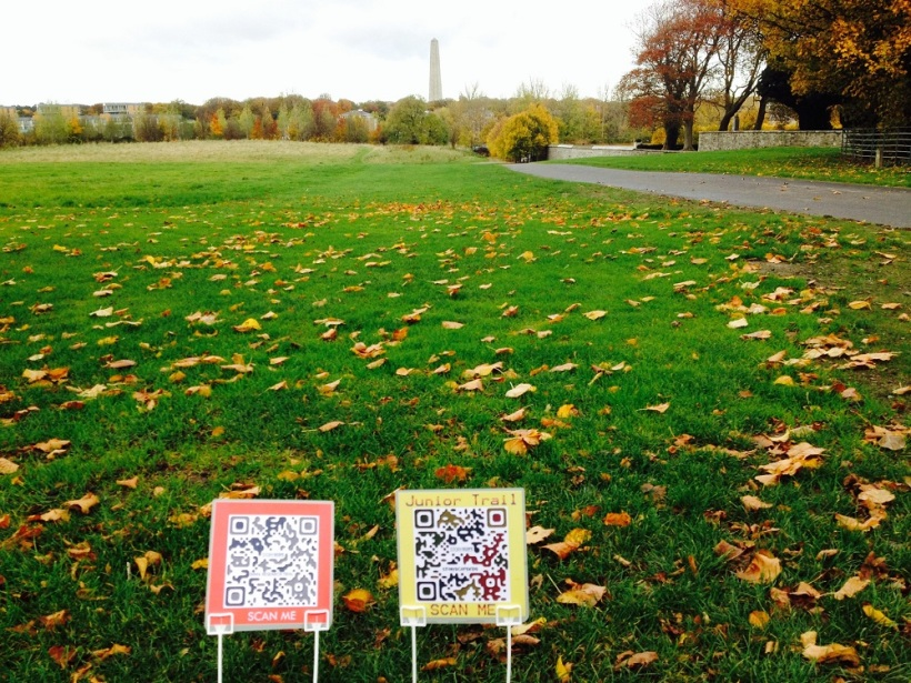 QR codes for adults and children's trails at Urquhart's Recurring Line: North/South
