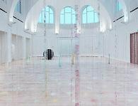 Karla Black, Practically in Shadow, 2013, Plaster powder, powder paint, florist foam, bath bombs, nail varnish, polythene, thread, cellophane, sellotape. Hanging element: 840 x 870 x 80 cm Floor element: 160 x 1200 x 670 cm. Overall dimensions variable. Installation view, Institute of Contemporary Art, University of Pennsylvania, 2013. Photo: Aaron Igler/ Greenhouse Media