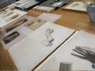 Viewing a selection of drawings from the Prints and Drawing Collection in the National Gallery of Ireland Prints & Drawings room