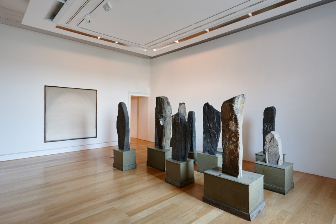 Hope Painting (Going Through the Loooking Glass), 2005 (IMMA) by William McKeown with a selection of Ogham Stones , 5th-7th AD (NMI) Denis Mortell Photography